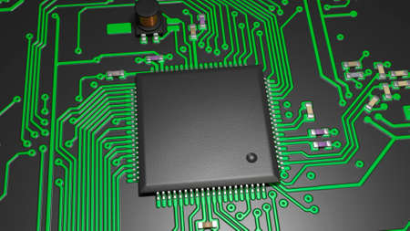 electronic components: chip and electronic components on the board