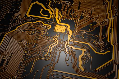 printed circuit: printed circuit board with yellow tracks