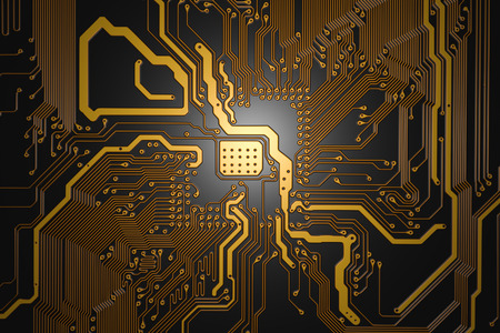 semiconductor: printed circuit board with yellow tracks