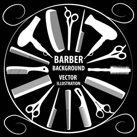 coiffeur: Background for barber and hairdresser. Black and white image of a barber and hairdresser tools. Vector illustration.