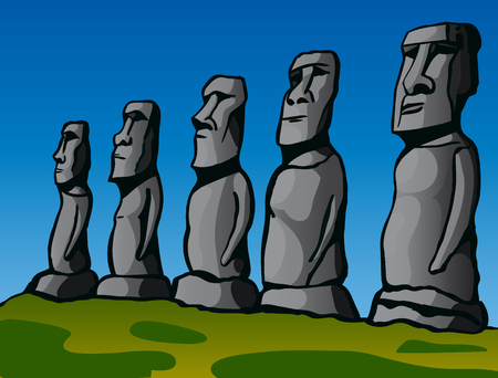 easter island: Easter Island. Stone idols. The story of the lost civilization. Vector Image. Illustration