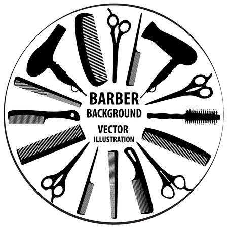 Background for barber and hairdresser. Vektorové ilustrace