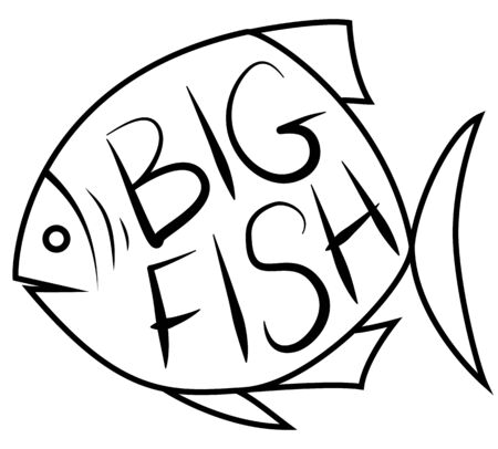 fish form: Big fish background for text. Fish frame. Vector illustration.