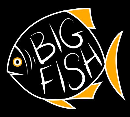 Big fish background for text. Fish frame. Vector illustration.