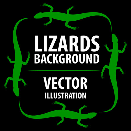 lizard in field: Background with lizards. Vectores