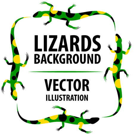 Background with lizards. Illustration