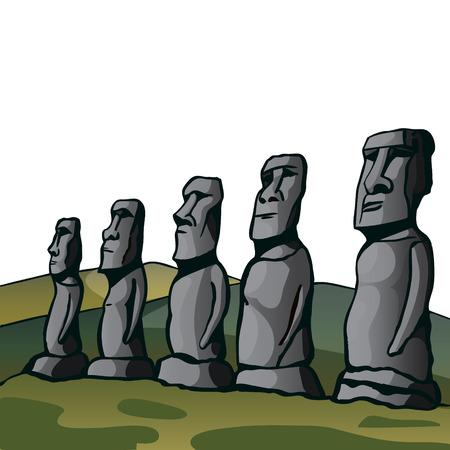 イースター島。石の偶像。