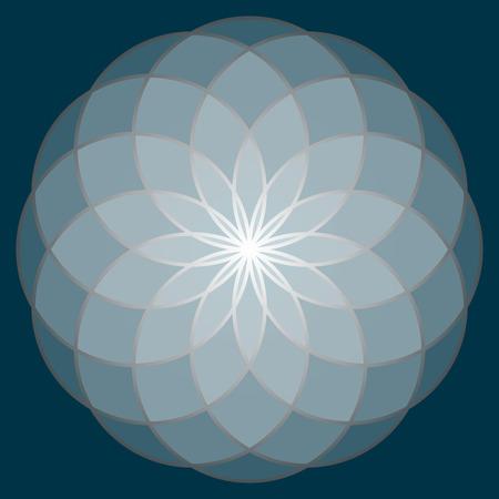 kundalini: Flower of Life. Sacred Geometry. Symbol of Harmony and Balance. Vector Illustration.