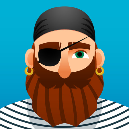 privateer: Portrait of a pirate. Cartoon style.