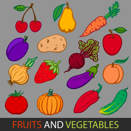 Fruits and vegetables. Set flat vector images.