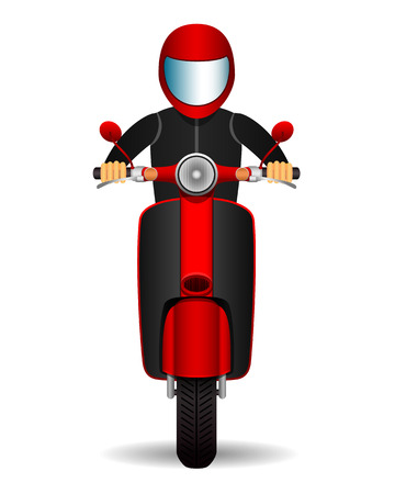 scooter biker. front view. Ilustrace
