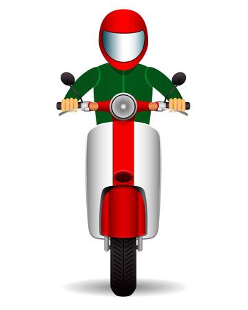 scooter biker. front view. vector illustration. Vector Illustration
