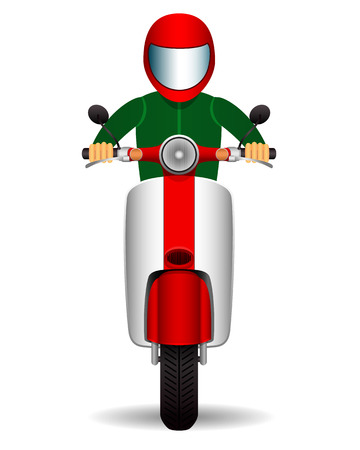 broadsheet: scooter biker. front view. vector illustration. Illustration