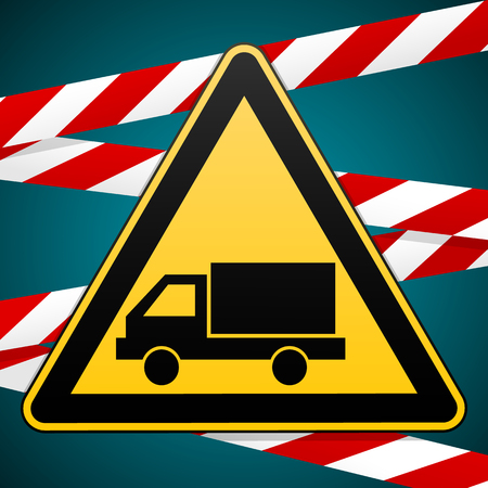 Caution - danger. Beware of the Car. Sign of the safety and warning bands. Vector illustration. Stock Photo