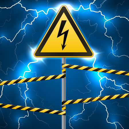 Warning sign. Electrical hazard. Fenced danger zone. A pillar with a sign. Lightning strikes. Flash arcing. Fantastic background. Çizim
