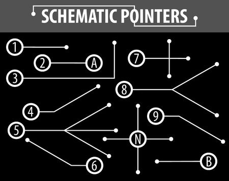 Schematic pointers. Extension lines to indicate the details of the drawings and diagrams. The elements of graphic design.