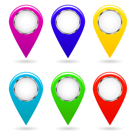 Set of colorful map pointers. Isolated objects. Vector image.