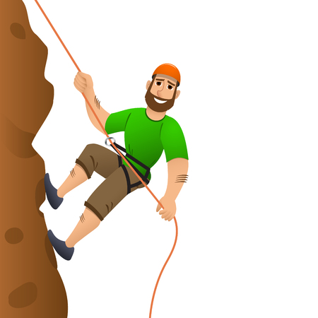 Rock climber. Man commits to rise the steep slope. Cartoon character. Illustration