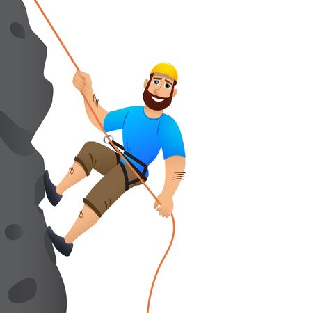 steep by steep: Rock climber. Man commits to rise the steep slope. Cartoon character. Illustration