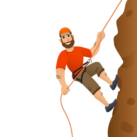mountaineering: Rock climber. Man commits to rise the steep slope. Cartoon character. Illustration