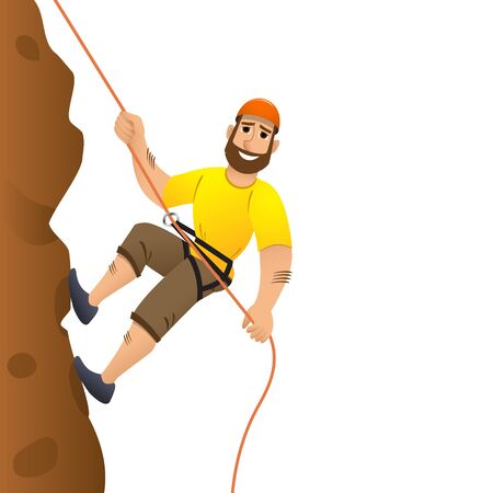 steep by steep: Rock climber. Man commits to rise the steep slope. Cartoon character. Vector illustration.