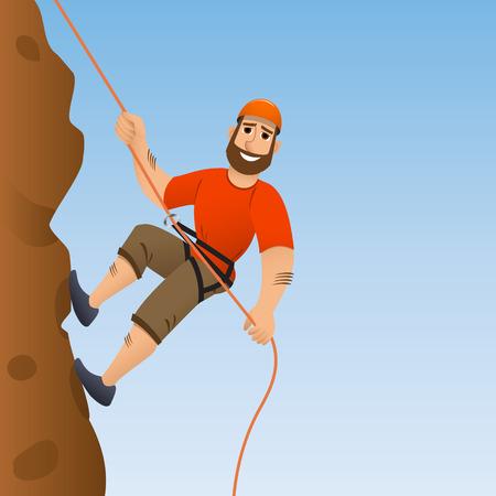 Bergbeklimmer. De mens verplicht de steile helling op te richten. Stripfiguur. Vector illustratie.
