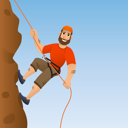 slope: Rock climber. Man commits to rise the steep slope. Cartoon character. Vector illustration.