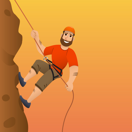 Rock climber. Man commits to rise the steep slope. Cartoon character. Vector illustration.