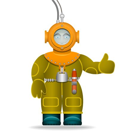 deep sea diver: A man in an old diving suit. Underwater helmet. Isolated object. Cartoon character. Vector illustration.