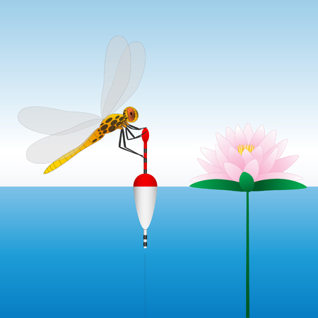 Dragonfly sitting on the float. Water lily. Water. Fishing. Vector illustration