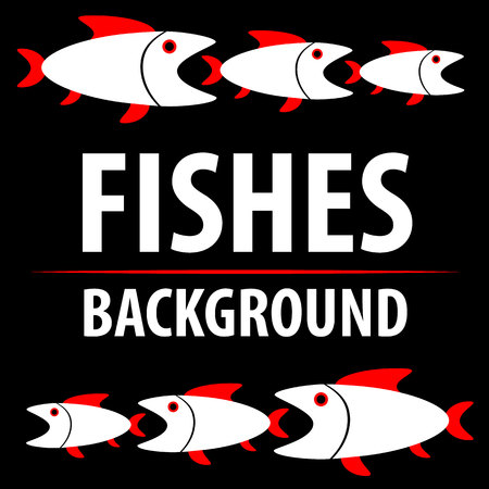 Background with fishes. Cartoon flat characters. Vector Illustration