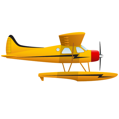 Yellow seaplane. Airplane on white background. Isolated object. Vector illustration.