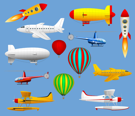 Set of different types of air transport. Airplanes, helicopters, balloons and zeppelins. Ilustrace