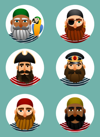 cocked hat: Pirates avatars collection. Set of portraits of sailors in a round shape.