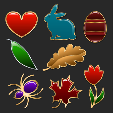 Set of figures made in the form of jewelry. Heart, rabbit, egg, tulip and leaves of different trees framed by golden frames. Vector illustration.