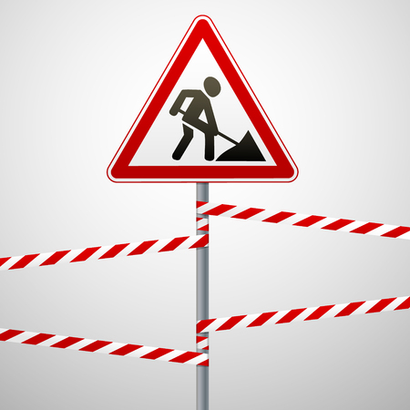 inhibition: Sign repair works and barrier tapes. Vector illustration. Illustration