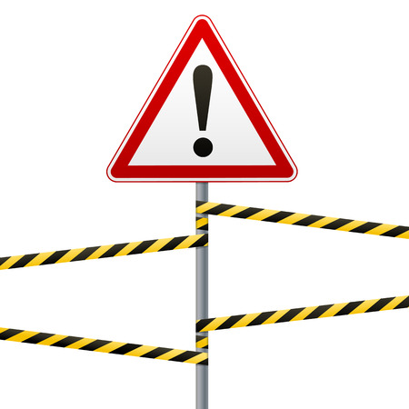 Caution - danger Warning sign safety. A red triangle with a black image. The sign on the pole and protecting ribbons. Vector Image.