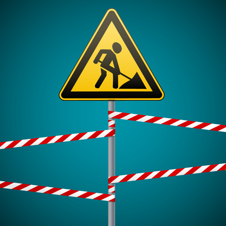screen savers: Sign repair works and barrier tapes. Vector