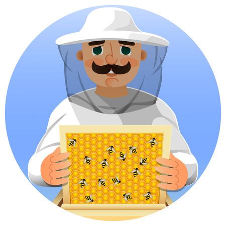 Imker in een wit pak. Portret van een man in een imker pak met een honingraat frame in zijn handen. Vector illustratie.