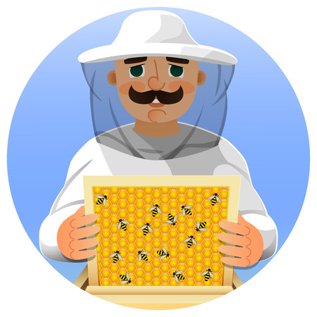 Beekeeper in a white suit. Portrait of a man in a beekeeper suit with a honeycomb frame in his hands. Vector illustration. Illustration