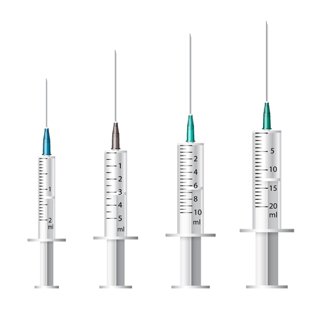 Medical syringe. Set of disposable plastic syringes of different sizes for subcutaneous and intramuscular injections. Vector .
