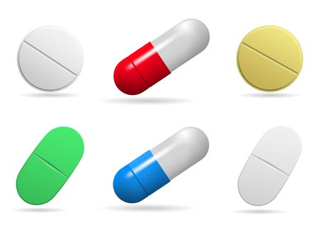 Medicinal tablets. Set of oval, round and capsules tablets of different colors. Isolated objects on white background. Vector illustration.