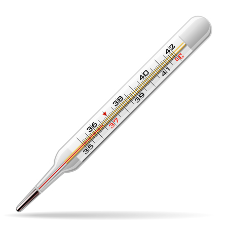Thermometer medical. A glass thermometer for measuring the temperature of the human body. Vector illustration.