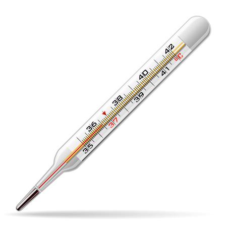 Termometro medico. Un termometro di vetro per misurare la temperatura del corpo umano. Illustrazione vettoriale