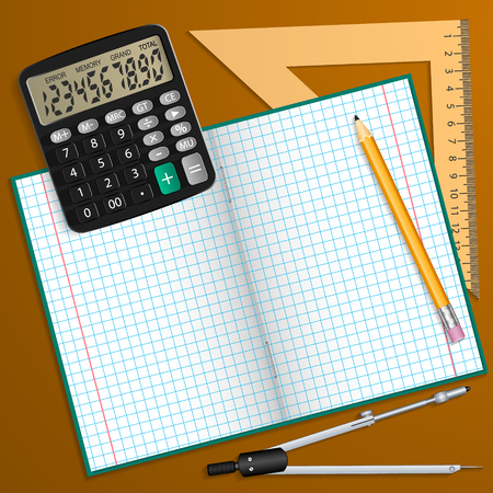 Vector illustration on the theme of the school. Notebook, pencil, calculator, ruler and compass laid on the table.