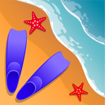 Beach background. Flippers and starfish on the sand. Sea shore. Flat style. Cartoon. Vector. Illustration