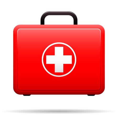 First aid kit. Red case with medical emblem. Box for medications. Suitcase with tools for first aid. Vector .