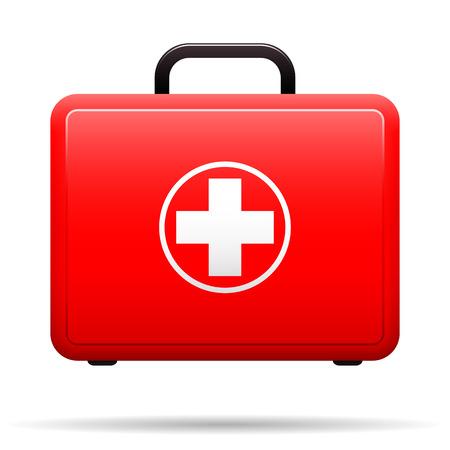 Kit di pronto soccorso. Custodia rossa con emblema medico. Box per farmaci. Valigia con strumenti per il primo soccorso. Vettore Vettoriali