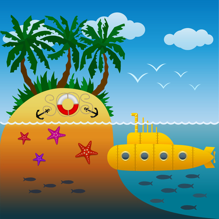Yellow submarine sailing near a tropical island with palm trees. The uninhabited island. Summertime beach vacation. Cartoon style.