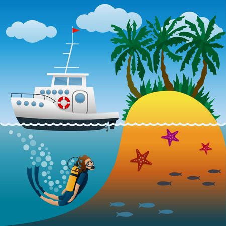 White cruise yacht in raid near tropical island with palm trees.Scuba diver under water. Diving in the open sea. Summertime beach holiday. Cartoon vector illustration.